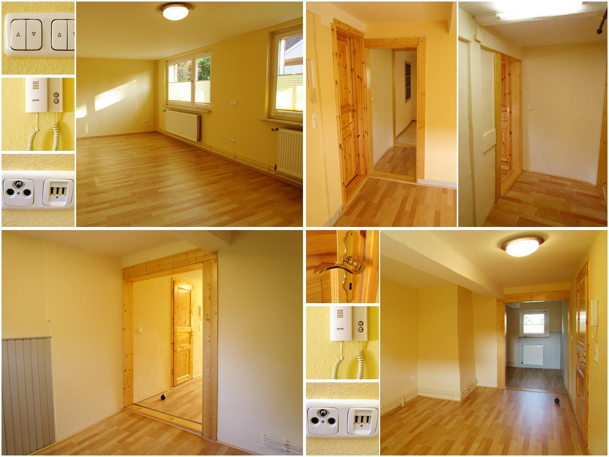 Oben links: Zimmer 1 [EG, 23,31 m², unmöbliert, ein großer Raum], Oben rechts: Zimmer 2 [OG, 24,85 m², unmöbliert, besteht aus  Nord- & Südraum die durch einen Wanddurchbruch miteinander verbunden sind], Unten links & rechts: Zimmer 3 [OG, 17,04 m², unmöbliert, besteht aus  Nord- & Südraum die durch einen Wanddurchbruch miteinander verbunden sind]
