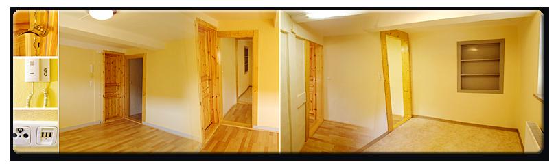 Zimmer 2 [OG, 24,85 m², unmöbliert, besteht aus  Nord- & Südraum die durch einen Wanddurchbruch miteinander verbunden sind]